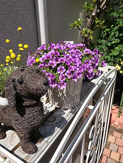 お店のベランダに飾られた犬の人形