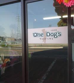 ガラスのドアとお店ロゴ